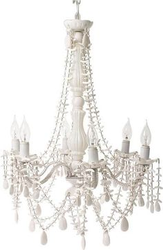 Present Time 6 Arm White Gypsy Chandelier