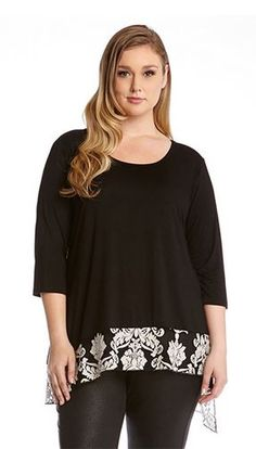PLUS SIZE BLACK AND WHITE FLORAL MIX AND MATCH LACE HEM TOP #Plus_Size #Black_and_White #Floral #Fashion #Karen_Kane