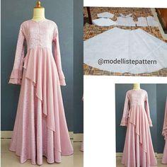 Jasa pembuatan pola pakaian sur Instagram: Gamis with side flare skirt pattern 💕 . . Line : @modelliste (with @) . .…