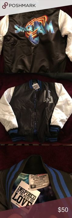 855c335492d483 ... Space Jam jacket Shiny letterman style jacket Jackets Coats Bomber  Varsity ...