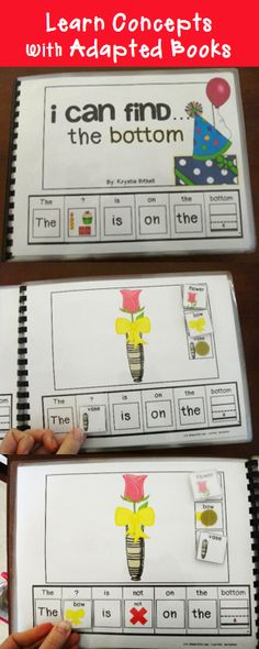 Learn concepts with adapted books. What is/ what is not the bottom. Fun, interactive, learning. Speech Therapy