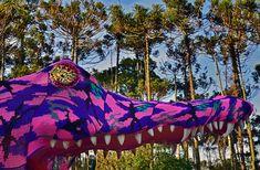 olek: crocheted jacaré alligator playground in são paulo