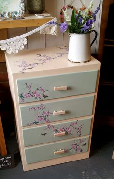 Decoupage Chest of Drawers in Cream and Green with Japanese Blossom