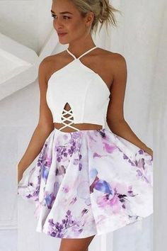 Sling Print Sexy Stitching Homecoming Dress,Sexy Halter Short Homecoming Dresses,Popular Mini Prom Dresses sold by SexyPromDress on Storenvy Sexy Homecoming Dresses, Hoco Dresses, Dance Dresses, Pretty Dresses, Sexy Dresses, Beautiful Dresses, Dress Outfits, Summer Dresses, Banquet Dresses