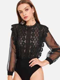 SheIn offers Sheer Mesh Sleeve Guipure Lace Bodice Bodysuit & more to fit your fashionable needs. Body Dentelle, Pullover Shirt, Skinny Waist, Textiles, Lace Bodysuit, Bodysuit Tops, Bodysuit Lingerie, Long Sleeve Romper, Lace Bodice