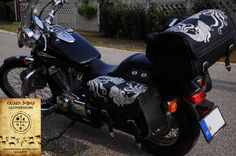 Hand stitched custom leather bags for a Honda Shadow, handmade leather art by Kriszti Dobos, Hungary.