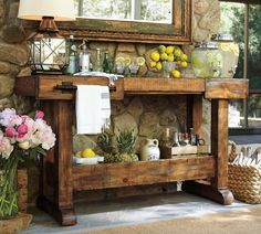 Rustic utility table for outdoor patio area.