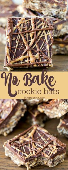 No Bake Cookie Bars Recipe - easy no-bake dessert recipe that's a new take on no-bake chocolate peanut butter cookies.