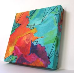 Mixed Media Fibers and Acrylic Painting by MusicalColorStudio, $390.00