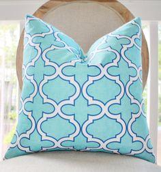 Turquoise Pillow - Decorative Designer Pillow - Aqua Blue White Quatrefoil Geometric Trellis Designer Cover - Throw Pillow