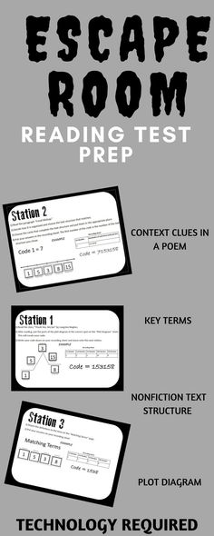 Includes context clues station, non-fiction text structure, plot diagram practice, and practice with common reading vocabulary terms. This interactive escape room requires technology. This is a great form of test prep 8th Grade Ela, 6th Grade Reading, Reading Test, Teaching Reading, Sixth Grade, Reading Room, Reading School, Seventh Grade, Middle School Ela