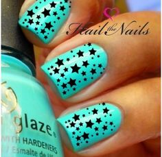 Blue nails and black stars