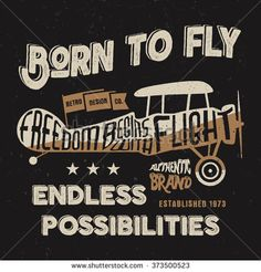 Vintage airplane lettering for printing. Vector old school aircraft poster. Retro air show t shirt design with motivational text and old effect. Biplane - stock vector