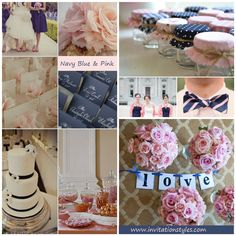 2014 Wedding Colors Trends-Navy Blue and Pink wedding ideas