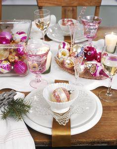 Ornament table setting for Christmas