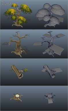 This concept piece shows how the creator made a low poly tree design using various shapes and techniques. Environment Concept Art, Environment Design, Game Environment, Blender 3d, Game Design, Modelos Low Poly, Polygon Modeling, Low Poly Games, Hand Painted Textures