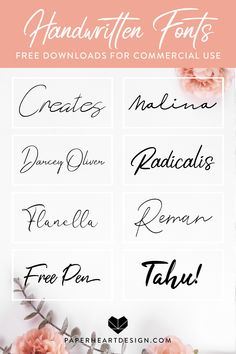 Eight handwritten signature style fonts free for commercial use. Cool Handwriting Fonts, Hand Lettering Fonts, Lettering Tutorial, Handwritten Fonts, Logo Fonts Free, Brand Fonts, Holiday Fonts, Commercial Use Fonts, Graphic Design Fonts