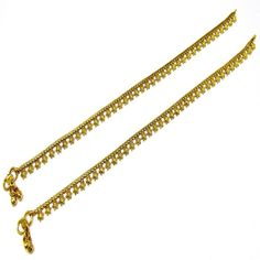 Gold Plated Ethnic Indian Bridal Payal Anklet Pair Curved Edge with Soft Bells
