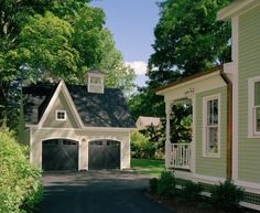 Elegant Detached Garage Plans trend Other Metro Victorian Exterior Decorating ideas with carriage doors dormer double garage double hung windows driveway gable roof garage green siding Cheap Garage Doors, Double Garage Door, Garage Door Styles, Garage Door Design, Small Garage, Exterior Tradicional, Carriage Garage Doors, Barn Doors, Garage Addition