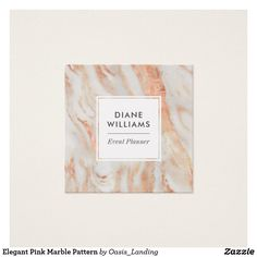 Elegant Pink Marble Pattern Square Business Card - An elegant look in a pink and lightest gray striated marble pattern for a professional look. This template includes space on the back for your social media accounts. You can delete these lines if you do not need them. Shown here as an event planner business card, this design works well for many other professions: salon, spa, nails, makeup artist, aesthetician, wedding planner, florist, project manager, administrative, boutique, writer, and…