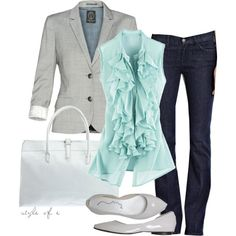 Ladies formal outfits with grey blazer, jeans, light blue blouse and white hand bag