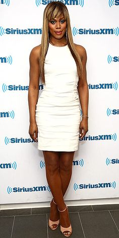 Last Night's Look: Love It or Leave It? Vote Now!   LAVERNE COX   in a ruched white minidress and beige heels at SiriusXM's studios in N.Y.C.