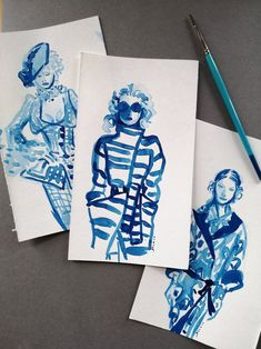 Contemporary and unique 3 blue Ink fashion Illustration original painting set of 3 from my Vivienne Westwood drawings collection. Original Paintings, Original Art, Ink Paintings, Floral Illustrations, Illustration Art, Contemporary Art Prints, Abstract Wall Art, Fine Art Paper, Find Art