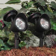 Set of 2 Solar Powered LED Spot Lights