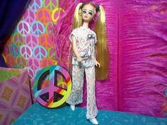 """Dawn with Long Pigtails Wearing Dizzy Girl's """"Peek-a-Boo""""  Made from Wedding Bell Dream Fabric, Sold Off when Topper Closed"""