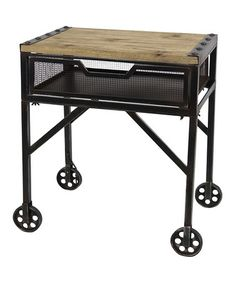 Love this Industrial Rolling Table on #zulily today!