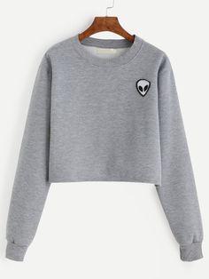 Sweat-shirt col rond avec patch motif alien - gris