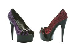 "6"" Peep Toe Stiletto With Buckle Details And Branch Pattern"