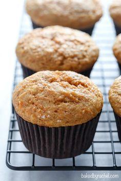 Moist applesauce carrot cake muffin recipe from @bakedbyrachel