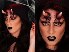 halloween makeup tutorial here http://www.face2face-makeup.com/tuto-maquillage-halloween-la-diablesse/