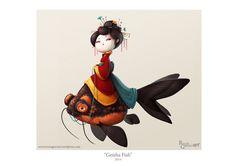 Geisha Fish, 2014 Rocío García (Rochi) ART http://rociogarciart.wordpress.com/illustration/