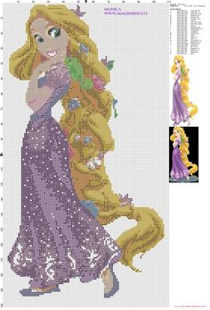 Rapunzel Tangled cross stitch pattern designed by Monica