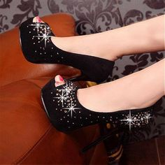 Black and bling Wedge Shoes, Shoes Heels, Pumps, Stilettos, Super High Heels, Shoe Tree, Peep Toe Heels, Wholesale Jewelry, Fashion Shoes