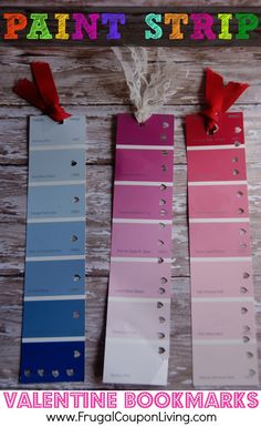 DIY Valentine Series - Paint Strip Valentine Bookmarks  and Video Tutorial - cute for classmates
