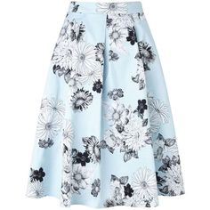 Miss Selfridge Pale Blue Floral Graphic Skirt ($26) ❤ liked on Polyvore featuring skirts, bottoms, miss selfridge, mint green, floral knee length skirt, mint skirt, blue skirt, floral printed skirt and pale blue skirt