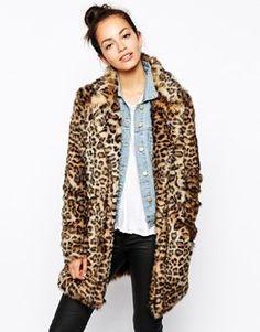 faux fur leopard coat $104