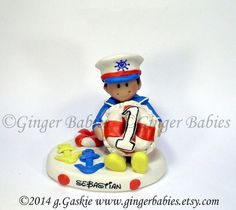 Nautical Themed Birthday Cake Topper by gingerbabies on Etsy