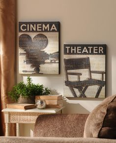 Keep it simple with our set of cinema canvas art prints with hues of