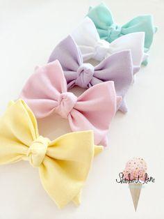 PICK 2 Fabric Bow Headband or Hair Clip Pastel by SherbertLane, $17.00