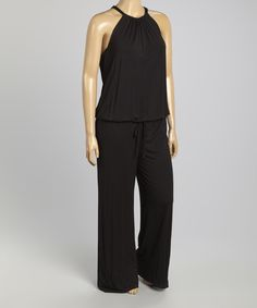 Black Halter Jumpsuit - Plus | zulily