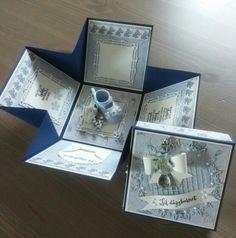 Eksplosjonsboks til barnedåp Exploding Box Card, Explosion Box, Gift Bags, Diy And Crafts, Decorative Boxes, Scrapbook, Paper, Cards, Handmade