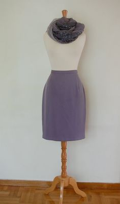 90s Elegant Straight Lilac Lavender Skirt Below by flyingcloset