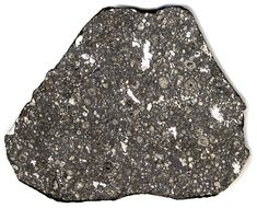 "This is a slice of carbonaceous chondrite, a rare type of stony meteorite.  It originates from the cold outer reaches of the asteroid belt.  It is brittle compared to other meteorites and it consists of chondrules and inclusions embedded in a carbon-rich host matrix.  The whispy white inclusions are called ""CAI's"" (Calcium Aluminum Inclusions), which are some of the oldest materials in the Solar System.  This specimen was found in Allende Mexico."