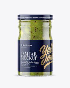 Clear Glass Jar with Kiwi Jam Mockup
