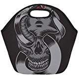 Insulated Lunch Tote Bag Skull With Cobra Reusable Neoprene Portable Lunchbox Handbag For Men Women Adult Kids Boys Girls Insulated Lunch Tote, Lunch Tote Bag, Handbags For Men, Kids Boys, Boy Or Girl, Lunch Box, Skull, Girls, Women