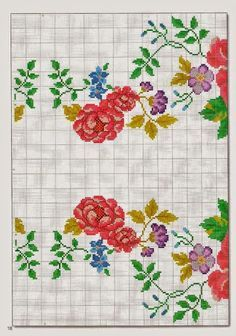 gráfico ponto cruz para Caminho de mesa flores coloridas Barrado flores